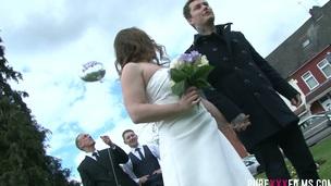 Cuckold groom enjoys watching how stud fucks his future wife Stacey Saran