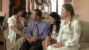 After a quick prayer, this mormon bonks his three wifes.