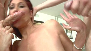 Nasty mother I`d like to fuck slobbering all over shaft and getting two facual cumshots