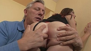 Long legged brunette Kattie Gold in black stockings turns aged man on. This babe grabs her ass cheeks and sticks two fingers in her asshole. Then he licks her sweet ass eagerly!