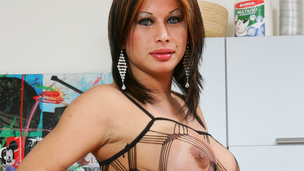 Sheboy mother I`d like to fuck in netting suit copulates a black man