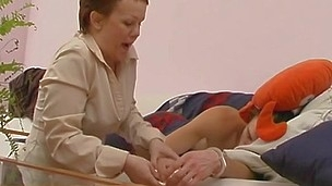 Nasty mother i`d like to fuck luring a sleeping guy into cunt eating and doggystyle fucking
