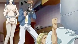 The story in this hentai episode is like this- a group of studs has captured the crowd in the huge hall and one especially cruel chap decided to give a valuable lesson and fucked the doll at people's eyes.