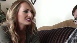 Outstanding blonde milf/stepmom fucks her son