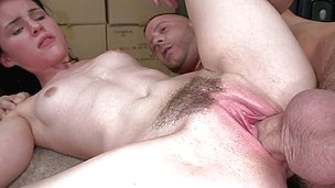 After that babe stretched that tight hairy vagina and then drank the weenie with pleasure the beautiful brunette hair is willing for her prize. She has a slim sexy body and such a pretty face that makes this dude to give her every drop of his cum. Look at