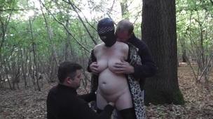 Slut wife in forest gangbaned in forest