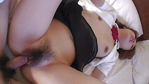 Sakura Anna goes to city on a nice, hard Japanese penis. Her hairy pussy is so wet and she receives the cock poked deep inside her. she rides her paramour cowgirl style until she receives cum shot inside her tight pussy.