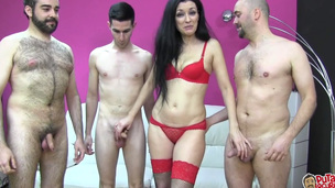 Spanish mother i`d like to fuck enjoys 3 dicks in a group-sex